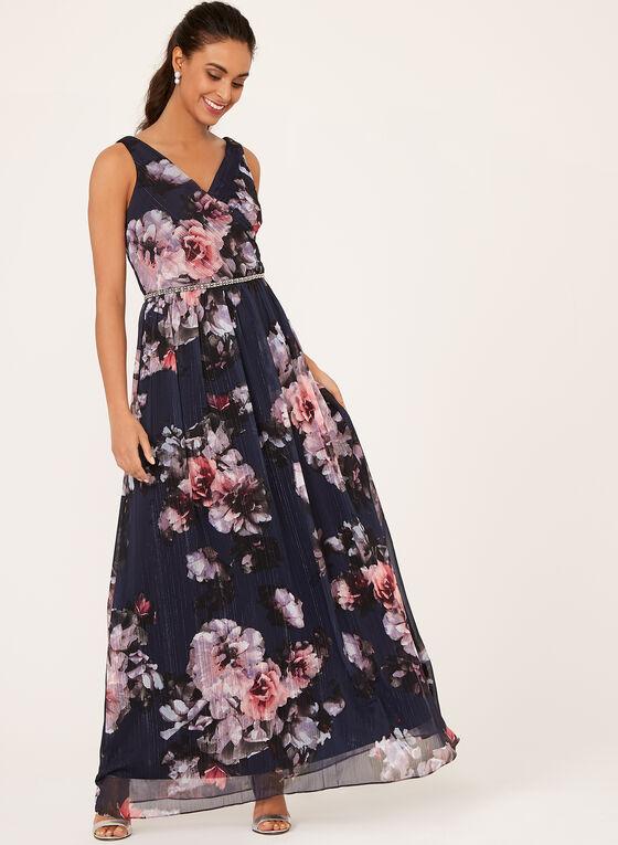 Floral Print Beaded Chiffon Dress, Blue, hi-res