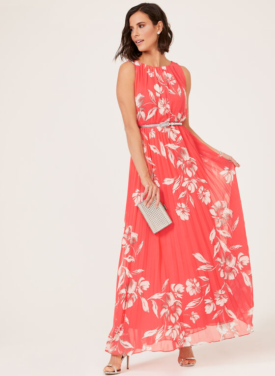Jessica Howard - Floral Print Maxi Dress, Orange, hi-res